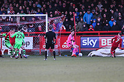 Accrington Stanley's Jordan Clark(7) shoots at goal scores a goal 2-1 during the EFL Sky Bet League 2 match between Accrington Stanley and Forest Green Rovers at the Wham Stadium, Accrington, England on 17 March 2018. Picture by Shane Healey.