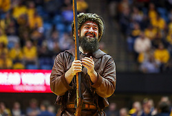 Dec 8, 2018; Morgantown, WV, USA; The West Virginia Mountaineers mascot cheers during the second half against the Pittsburgh Panthers at WVU Coliseum. Mandatory Credit: Ben Queen-USA TODAY Sports