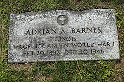 31 August 2017:   Veterans graves in Park Hill Cemetery in eastern McLean County.<br /> <br /> Adrian A Barnes Illinois Wagoner 106 AM TN World War I Feb 20 1892 Dec 20 1946