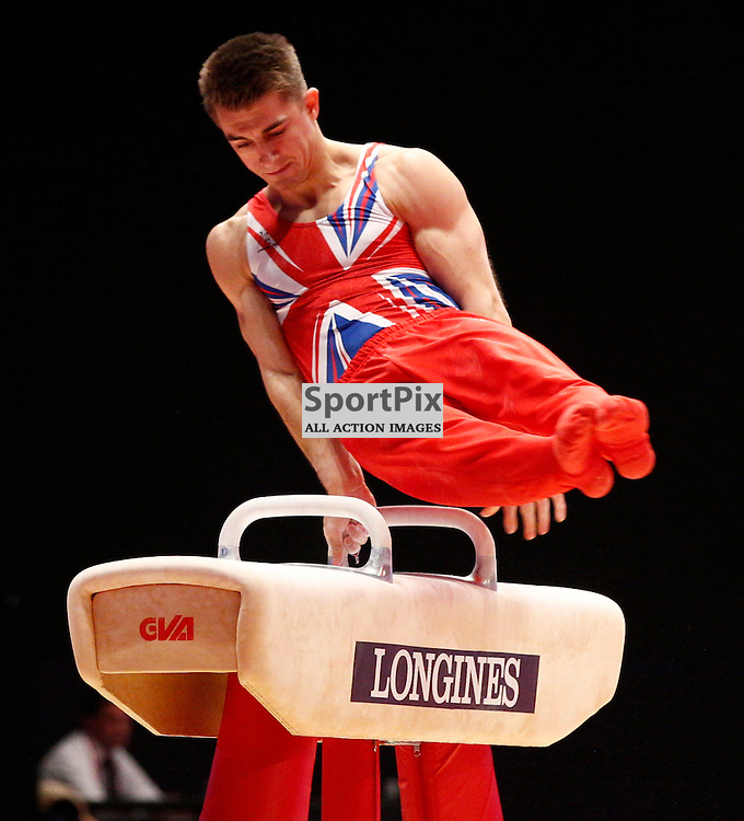 2015 Artistic Gymnastics World Championships being held in Glasgow from 23rd October to 1st November 2015.....Max Whitlock (Great Britain) competing in the Pommel Horse competition..(c) STEPHEN LAWSON | SportPix.org.uk