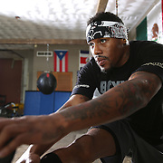 """WINTER HAVEN, FL - MAY 05: Boxer Willie Monroe Jr. prepares to work out at the Winter Haven Boxing Gym on May 5, 2015 in Winter Haven, Florida. Monroe will challenge middleweight world champion Gennady """"GGG"""" Golovkin for the WBA world championship title in Los Angeles on May 16.  (Photo by Alex Menendez/Getty Images) *** Local Caption *** Willie Monroe Jr."""