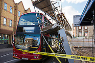 2 Mar.2015 - Narrow escape as scaffold collapses on bus in Peckham, South London
