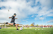 Picture by Allan McKenzie/SWpix.com - 10/11/2016 - Rugby League - 2016 Ladbrokes 4 Nations - New Zealand Kiwis Captains Run - Aspatria Rugby Club, Aspatria, England - Issac Luke kicks for goal as children from the local schools look on. Copyright Image: SWPix / www.photosport.nz