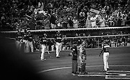 After stepping into the hitter's box as a right handed hitter for the first pitch of the game to honor right handed pitcher Jose Fernandez and then switching back to his normal left handed swing, Dee Gordon smashes his first home run of the season as the crowd celebrates Jose and Gordon drops tears of emotion.