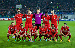 SOFIA, BULGARIA - Wednesday, November 26, 2014: Liverpool's players line up for a team group photograph before the UEFA Champions League Group B match at the Vasil Levski National Stadium. Back row L-R: Rickie Lambert, Martin Skrtel, goalkeeper Simon Mignolet, Kolo Toure, Jordan Henderson. Front row L-R: Lucas Leiva, Joe Allen, captain Steven Gerrard, Jose Enrique, Raheem Sterling, Javier Manquillo. (Pic by David Rawcliffe/Propaganda)