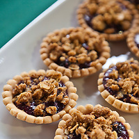 Raspberry crumble tarts.