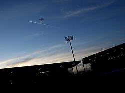 A plane flies over Craven Cottage as the sun sets - Photo mandatory by-line: Robbie Stephenson/JMP - Mobile: 07966 386802 - 06/03/2015 - SPORT - Football - Fulham - Craven Cottage - Fulham v AFC Bournemouth - Sky Bet Championship