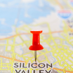 Close-up of map of Silicon Valley