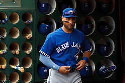 OAKLAND, CA - JULY 23:  Kevin Pillar #11 of the Toronto Blue Jays stands in the dugout before the game against the Oakland Athletics at O.co Coliseum on July 23, 2015 in Oakland, California. The Toronto Blue Jays defeated the Oakland Athletics 5-2. (Photo by Jason O. Watson/Getty Images) *** Local Caption *** Kevin Pillar