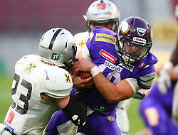 29.07.2017, Woertersee Stadion, Klagenfurt, AUT, AFL, Austrian Bowl XXXIII, Dacia Vikings Vienna vs Swarco Raiders Tirol, im Bild Vincent Mueller (Swarco Raiders Tirol, #23, DB) und Kevin Burke (Dacia Vikings Vienna, #10, QB) // during the Austrian Football League Austrian Bowl XXXIII game between Dacia Vikings Vienna vs Swarco Raiders Tirol at the Woertersee Stadion, Klagenfurt, Austria on 2017/07/29. EXPA Pictures © 2017, PhotoCredit: EXPA/ Thomas Haumer