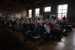 "© London News Pictures. ""Looking for Nigel"". A body of work by photographer Mary Turner, studying UKIP leader Nigel Farage and his followers throughout the 2015 election campaign. PICTURE SHOWS - The audience listen intently during Nigel Farage's penultimate public meeting of his election campaign, at St Mark's Church Hall, Ramsgate. Kent, on May 2nd 2015. . Photo credit: Mary Turner/LNP **PLEASE CALL TO ARRANGE FEE** **More images available on request**"