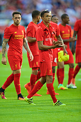 LONDON, ENGLAND - Saturday, August 6, 2016: Liverpool's Trent Alexander-Arnold applauds the supporters after the 4-0 victory over Barcelona during the International Champions Cup match at Wembley Stadium. (Pic by David Rawcliffe/Propaganda)