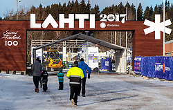 21.02.2017, Lahti, FIN, FIS Weltmeisterschaften Ski Nordisch, Lahti 2017, Vorberichte, im Bild Eingangsbereich zum Stadion mit dem Lahti 2017 Schriftzug // Entrance to the stadium with the Lahti 2017 lettering during preperation for the FIS Nordic Ski World Championships 2017. Lahti, Finland on 2017/02/21. EXPA Pictures © 2017, PhotoCredit: EXPA/ JFK