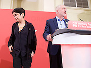 Jeremy Corbyn MP<br /> Human Rights speech and panel discussion <br /> Leader of the Labour Party <br /> arriving at Central Methodist Hall, Westminster, London, Great Britain <br /> 10th December 2016 <br /> Shami Chakrabarti goes on stage during the protest by Peter Tatchell <br /> <br /> Photograph by Elliott Franks <br /> Image licensed to Elliott Franks Photography Services