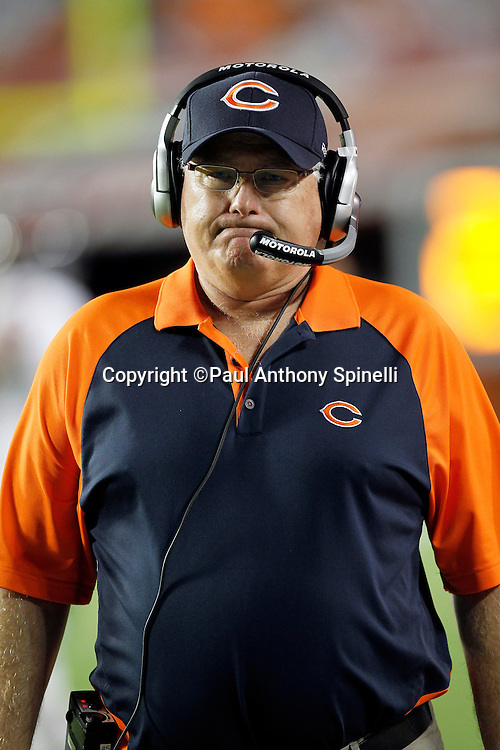 Chicago Bears offensive coordinator Mike Martz grimaces during the NFL week 11 football game against the Miami Dolphins on Thursday, November 18, 2010 in Miami Gardens, Florida. The Bears won the game 16-0. (©Paul Anthony Spinelli)