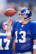 IRVING, TX - JANUARY 13:   Jared Lorenzen #13 of the New York Giants spins the ball on his finger while warming up before a game against the Dallas Cowboys during the NFC Divisional playoff at Texas Stadium on January 13, 2008 in Dallas, Texas.  The Giants defeated the Cowboys 21-17.  (Photo by Wesley Hitt/Getty Images) *** Local Caption *** Jared Lorenzen