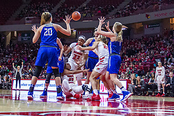 NORMAL, IL - December 20: 7 players skirmish for a loose ball with Viria Livingston ending up on the floor during a college women's basketball game between the ISU Redbirds and the St. Louis Billikens on December 20 2018 at Redbird Arena in Normal, IL. (Photo by Alan Look)