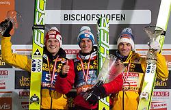06.01.2012, Paul Ausserleitner Schanze, Bischofshofen, AUT, 60. Vierschanzentournee, FIS Ski Sprung Weltcup, Podium, im Bild Podium der Gesamtwertung v.l.n.r. Thomas Morgenstern (AUT, Rang 2), Gregor Schlierenzauer (AUT, Rang 1) und Andreas Kofler (AUT, Rang 3) // over all Podium f.l.t.r. second place Thomas Morgenstern of Austria, first place Gregor Schlierenzauer of Austria and dirth place Andreas Kofler of Austria on Podium during 60th Four-Hills-Tournament FIS World Cup Ski Jumping at Paul Ausserleitner Schanze, Bischofshofen, Austria on 2012/01/06. EXPA Pictures © 2012, PhotoCredit: EXPA/ Johann Groder