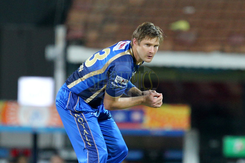 Shane Watson of Rajasthan Royals during match 47 of the Pepsi IPL 2015 (Indian Premier League) between The Chennai Superkings and The Rajasthan Royals held at the M. A. Chidambaram Stadium, Chennai Stadium in Chennai, India on the 10th May 2015.Photo by:  Prashant Bhoot / SPORTZPICS / IPL