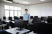 April 2013 - Engineering professor Dr. Visit Hirankitti, developer of the Iphone Flood Prevention App, in his computer class at the King Mongkut's Institute of Technology. His software allows citizens armed with iPhones to collect data during floods - Ladkrabang, Bangkok © Giorgio Taraschi for The Rockefeller Foundation/Next City