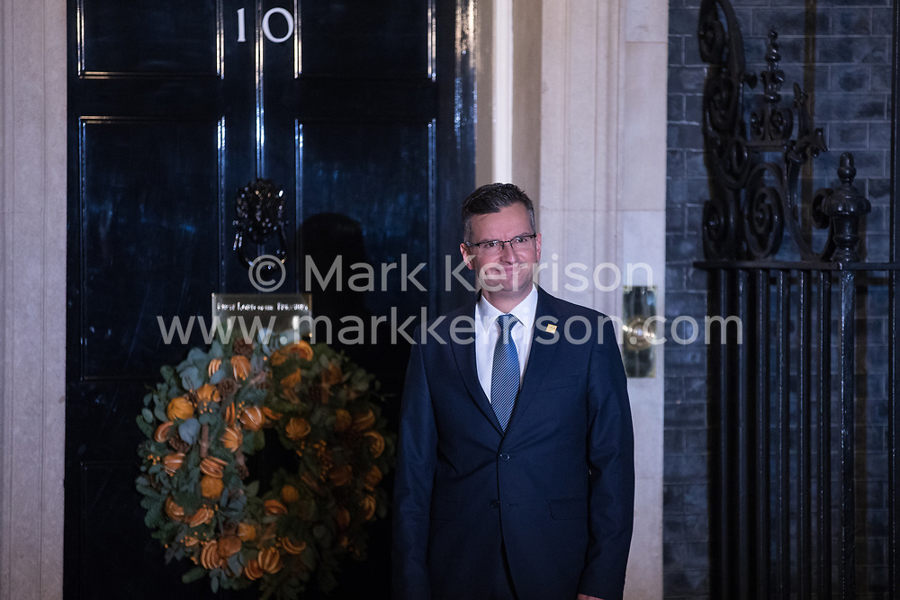 London, UK. 3 December, 2019. Marjan Šarec, Prime Minister of Slovenia, arrives for a reception for NATO leaders at 10 Downing Street on the eve of the military alliance's 70th anniversary summit at a luxury hotel near Watford.