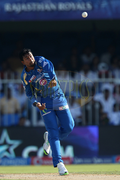 Pragyan Ohja during match 16 of the Pepsi Indian Premier League 2014 between the Delhi Daredevils and the Mumbai Indians held at the Sharjah Cricket Stadium, Sharjah, United Arab Emirates on the 27th April 2014<br /> <br /> Photo by Ron Gaunt / IPL / SPORTZPICS