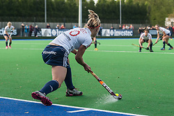 England's Susie Gilbert ejects a penalty corner. England v Belgium, Bisham Abbey, Marlow, UK on 09 May 2014. Photo: Simon Parker
