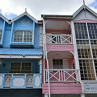 Pastel Painted Buildings on Bourbon Street in Castries, Saint Lucia<br />