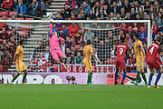 Matthew Ryan (Australia) makes a save, tipping the ball over the bar from a free kick during the Friendly International match match between England and Australia at the Stadium Of Light, Sunderland, England on 27 May 2016. Photo by Mark P Doherty.