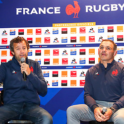 Fabien GALTHIE and Raphael IBANEZ   during the presentation of the new staff of the French Rugby team on November 13, 2019 in Cahors, France. (Photo by Manuel Blondeau/Icon Sport) - Fabien GALTHIE - Raphael IBANEZ - Montgesty (France)