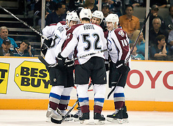 April 16, 2010; San Jose, CA, USA; Colorado Avalanche right wing Milan Hejduk (far left) is congratulated by teammates after scoring a goal against the San Jose Sharks during the first period of game two in the first round of the 2010 Stanley Cup Playoffs at HP Pavilion.  The Sharks defeated the Avalanche 6-5 in overtime. Mandatory Credit: Jason O. Watson / US PRESSWIRE