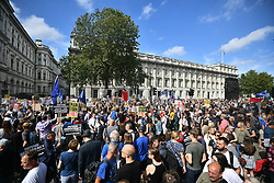 © Licensed to London News Pictures. 31/08/2019. London, UK. Protestors gather near 10 Downing Street in Westminster, central London to demonstrate as part of a nationwide 'Stop The Coup' day of action against Boris Johnson's plans to suspend parliament. More than 80 demonstrations are planned across the UK in response to government plans to prorogue parliament. Photo credit: Ben Cawthra/LNP