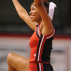 Jan 31, 2009; Piscataway, NJ, USA; A member of the Rutgers Cheer Team performs during the first half of Rutgers' 75-56 victory over DePaul in NCAA college basketball at the Louis Brown Athletic Center