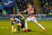 Mateo Muzek of St Mirren scrambles the ball clear as Aaron McGowan of Hamilton Academicals puts on the pressure during the Ladbrokes Scottish Premiership match between St Mirren and Hamilton Academical FC at the Paisley 2021 Stadium, St Mirren, Scotland on 13 May 2019.