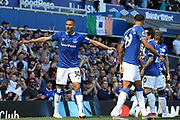 Everton forward Richarlison (30) scores a goal 1-0 and celebrates  during the Premier League match between Everton and Manchester United at Goodison Park, Liverpool, England on 21 April 2019.