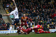 Bradford City forward Jamie Proctor (19)  thinks he has scored but ruled offside during the Sky Bet League 1 match between Bradford City and Millwall at the Coral Windows Stadium, Bradford, England on 26 March 2016. Photo by Simon Davies.