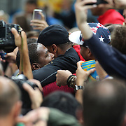 Basketball - Olympics: Day 16  Kevin Durant #5 of United States in the crowd after the medal presentations during the USA Vs Serbia Men's Basketball Gold Medal game at Carioca Arena1on August 21, 2016 in Rio de Janeiro, Brazil. (Photo by Tim Clayton/Corbis via Getty Images)