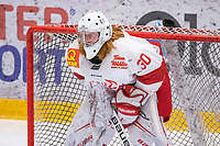 2020-01-19 | Umeå, Sweden: Vallentuna (30) Linus Gidbark in AllEttan during the game  between Teg and Vallentuna at A3 Arena ( Photo by: Michael Lundström | Swe Press Photo )<br /> <br /> Keywords: Umeå, Hockey, AllEttan, A3 Arena, Teg, Vallentuna, mltv200119, sad unhappy disappointment disappointed dejected