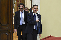 Italy, Rome - April 24, 2018.The leaders of Five Star Moviment (M5S) Danilo Toninelli, Luigi Di Maio and Giulia Grillo talk to the media after a meeting with Lower House Speaker Roberto Fico for a round of consultations in Rome, Italy, 24 April 2018. (Credit Image: © Mistrulli/Fotogramma/Ropi via ZUMA Press)