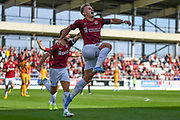 Northampton Town defender midfielder Sam Hoskins (7) scores a goal and celebrates  2-0 during the EFL Sky Bet League 2 match between Northampton Town and Newport County at the PTS Academy Stadium, Northampton, England on 14 September 2019.