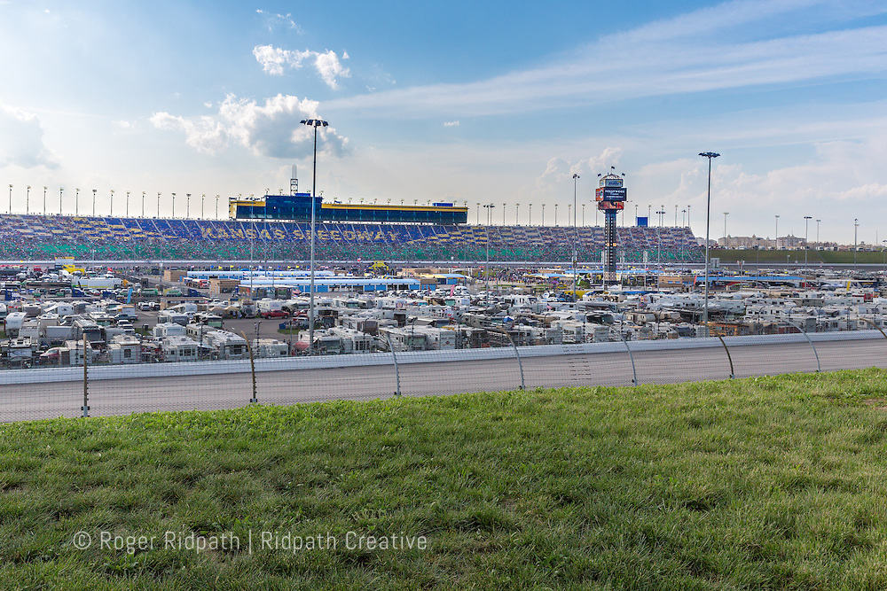 grandstand and track Kansas Speedway 1.5 mile tri-oval suitable for all types of racing.