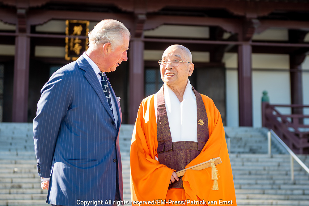 Prince Charles visits the Zojoji Temple, Tokyo, Japan.<br /> <br /> On the photo: Prince Charles and Yagi-daika, the Head Monk of Zojoji