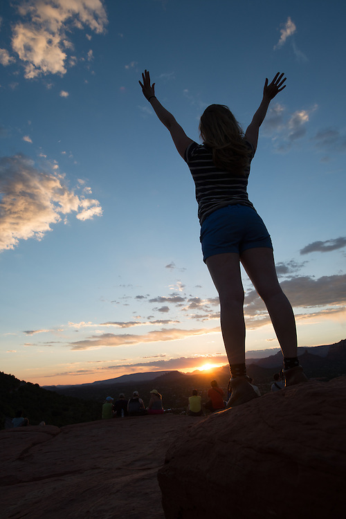Young Woman with Hands Up<br /> Airport Vortex<br /> Sedona Arizona
