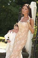 Victoria Beckham and Brooklyn  at wedding of  Davinia Taylor and Dave Gardener at St Johns Church Chelford Cheshire. 13/07/2003.<br />Photo: Digitalsport