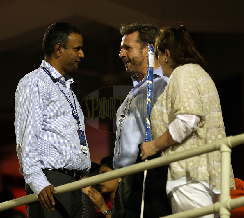 IPL COO Sundar Raman(L), Richard Madley the Auctionier (C) during the eliminator match of the Pepsi Indian Premier League Season 2014 between the Chennai Superkings and the Mumbai Indians held at the Brabourne Stadium, Mumbai, India on the 28th May  2014<br /> <br /> Photo by Sandeep Shetty / IPL / SPORTZPICS<br /> <br /> <br /> <br /> Image use subject to terms and conditions which can be found here:  http://sportzpics.photoshelter.com/gallery/Pepsi-IPL-Image-terms-and-conditions/G00004VW1IVJ.gB0/C0000TScjhBM6ikg