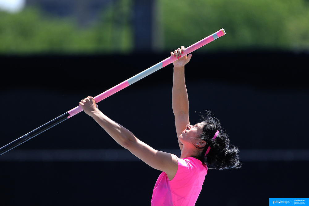 Jenn Suhr, USA, goes through her meticulous preparation routine during warm up before the Women's Pole Vault competition at the Diamond League Adidas Grand Prix at Icahn Stadium, Randall's Island, Manhattan, New York, USA. 14th June 2014. Photo Tim Clayton