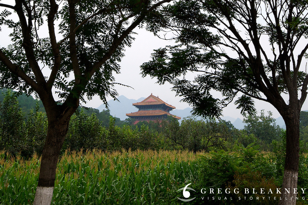 One of several Ming Dynasty temples and tombs along the Tour of Beijing's queen stage - Stage Three, 162km, Shangyu island to Yongning Town via Thirteen Ming Tombs Reservoir - 2011 Tour of Beijing Scouting Photos