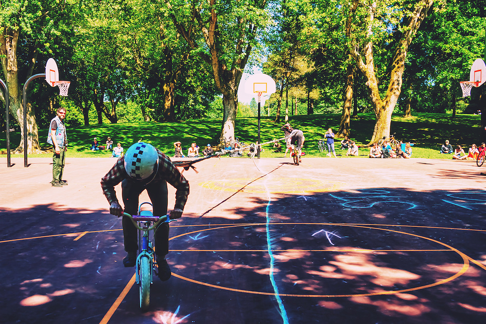 2013 Stumptown Joustdown - Tug of War - in Portland, OR<br /> <br /> The Stumpdown Joustdown is an open bike jousting tournament held at Irving Park during Pedalpalooza  - an event which sees over 250 bike rides and bike themed events during a 3 week period. Competitors speed their bicycles, tall and mini bikes, straight at each other while wielding a jousting pole with which to pummel their opponent, hopefully to the ground. There is also Tug of War and Pie Fighting.