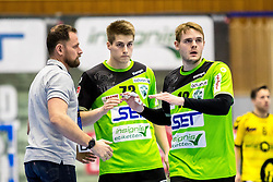 23.02.2018, BSFZ Suedstadt, Maria Enzersdorf, AUT, HLA, SG INSIGNIS Handball WESTWIEN vs Bregenz Handball, Bonus-Runde, 3. Runde, im Bild Trainer Hannes Jon Jonsson (SG INSIGNIS Handball WESTWIEN), Viggo Kristjansson (SG INSIGNIS Handball WESTWIEN), Olafur Bjarki Ragnarsson (SG INSIGNIS Handball WESTWIEN) // during Handball League Austria, Bonus-Runde, 3 rd round match between SG INSIGNIS Handball WESTWIEN and Bregenz Handball at the BSFZ Suedstadt, Maria Enzersdorf, Austria on 2018/02/23, EXPA Pictures © 2018, PhotoCredit: EXPA/ Sebastian Pucher