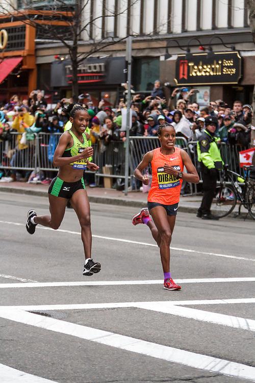 Boston Marathon: winner Caroline Rotich, Kenya, battles Mare Dibaba, Ethiopia in final stretch, prevails by 4 seconds